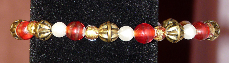Red & Gold Bracelet with pearls