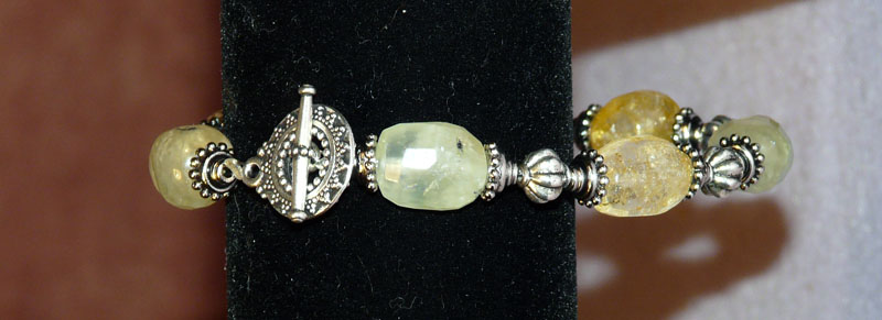 Silver Bali Bracelet with Green and Honey