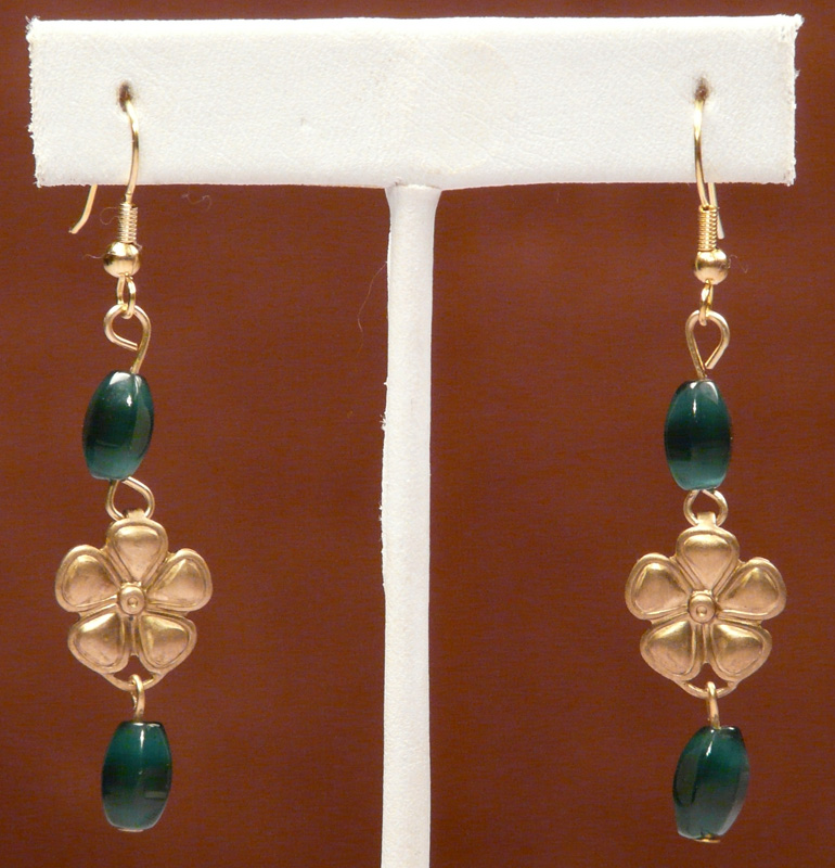 Flower Earrings with Green