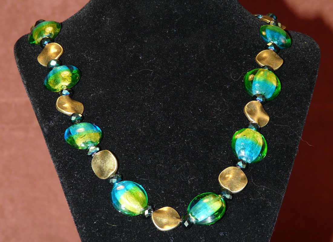 Blue and Green Glass Necklace
