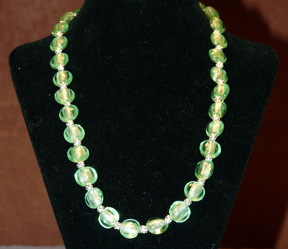 Green Glass and Silver Necklace