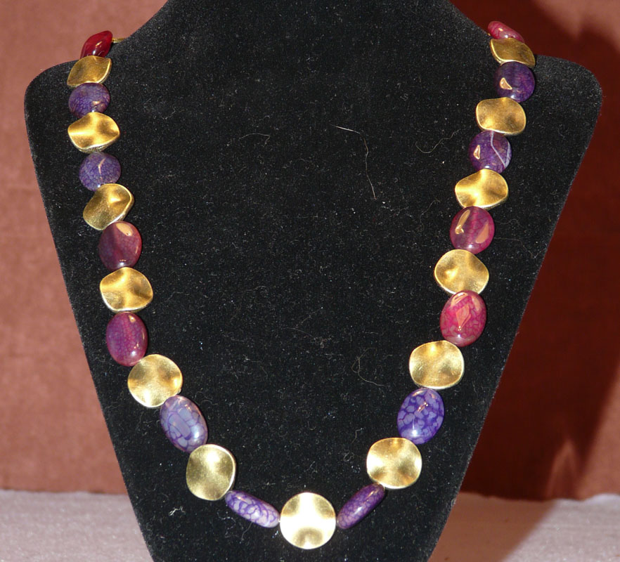 Red to Purple Stone Necklace