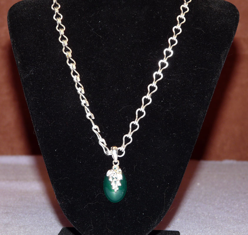 Silver with Green Pendant